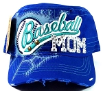 Bling Baseball Mom Vintage Cadet Hats Wholesale - Royal Blue