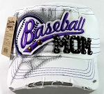 Rhinestone Baseball Mom Vintage Cadet Hats Wholesale - White