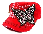 Rhinestone Butterfly Vintage Cadet Hats Wholesale - Red