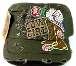 Western Rhinestone Cowgirl Boots Cadet Hats Wholesale - Olive