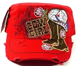 Western Rhinestone Cowgirl Boots Cadet Hats Wholesale - Red