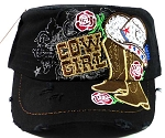 Western Rhinestone Cowgirl Boots Cadet Hats Wholesale - Black