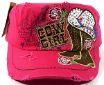 Western Rhinestone Cowgirl Boots Cadet Hats Wholesale - Pink
