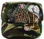 Western Rhinestone Cowgirl Boots Cadet Hats Wholesale - Green Camo