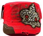 Bling Fleur de Lis Vintage Cadet Hats Wholesale - Red