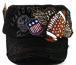 Rhinestone Football Vintage Cadet Hats Wholesale - Black