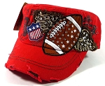 Rhinestone Football Vintage Cadet Hats Wholesale - Red