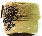 Rhinestone Cross Vintage Cadet Caps Wholesale - Khaki