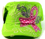 Rhinestone Pink Ribbon Vintage Cadet Hats Wholesale - Lime Green