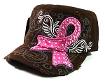 Rhinestone Pink Ribbon Vintage Cadet Hats Wholesale - Auburn Brown