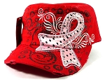 Rhinestone Pink Ribbon Vintage Cadet Hats Wholesale - Red