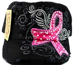 Rhinestone Breast Cancer Awareness Ribbon Cadet Hats Wholesale - Black