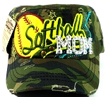 Rhinestone Softball Mom Cadet Hats Wholesale - Green Camo