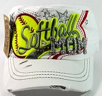 Rhinestone Softball Mom Cadet Hats Wholesale - White