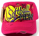 Rhinestone Softball Mom Cadet Hats Wholesale - Hot Pink