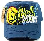 Bling Cadet Softball MOM Hats Wholesale - Teal