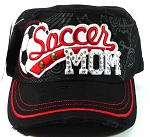 Rhinestone Soccer MOM Vintage Cadet Hats Wholesale - Black