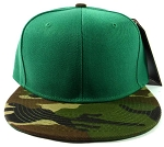 Blank Vintage Snapback Hats Caps Wholesale - Green | Camouflage