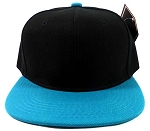 Kids Blank Snapback Hats Wholesale - Black | Turquoise Blue