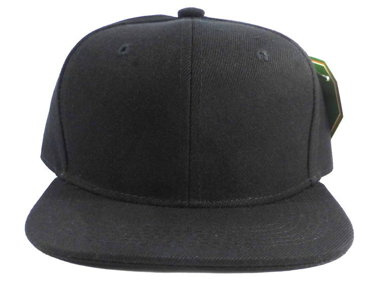 [manufacturer] KIDS Blank Junior Snapback Hats Wholesale - Solid Black