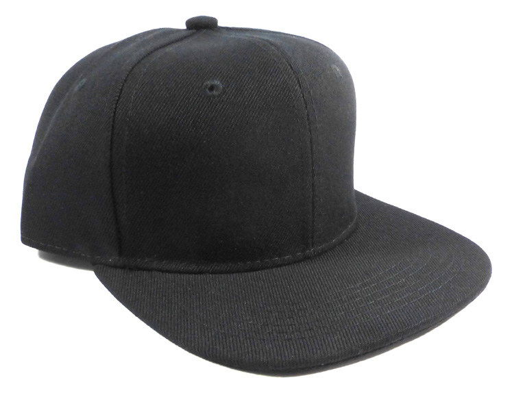909148e3 KIDS Blank Junior Snapback Hats Wholesale - Solid Black