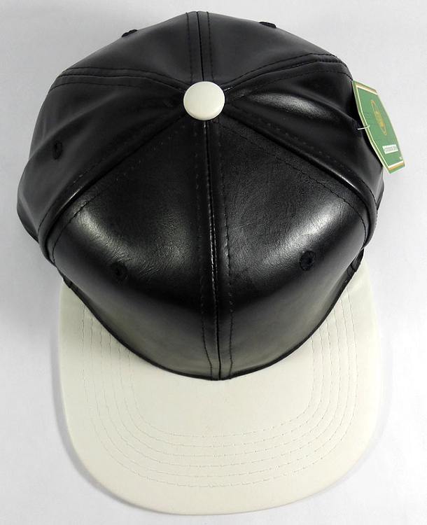 10b48b01 Faux Leather Plain Snapback Caps Wholesale - Black | White