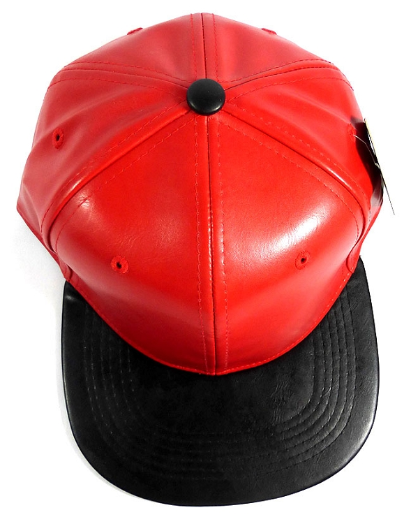 Faux Leather Plain Snapback Hats Wholesale - Red  fb00feddbee