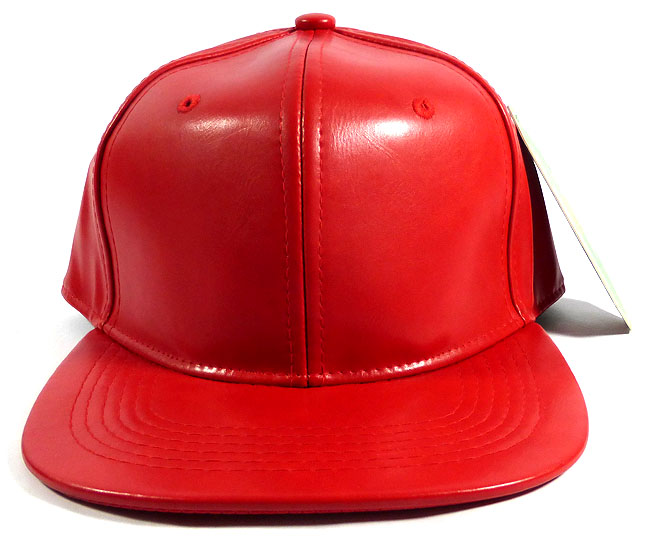 Blank Faux Leather Snapback Hats Wholesale - Red d3cccb61ef7