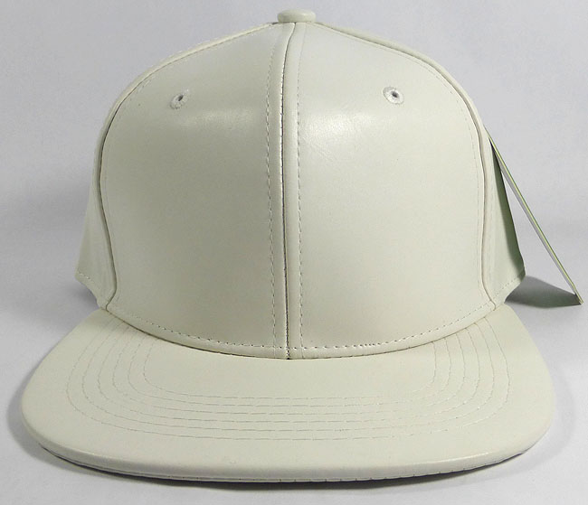 a5002405 Blank Faux Leather Snapback Hats Wholesale - Satin White