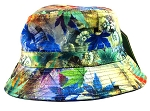 Wholesale Fashion Blank Bucket Hats - Vintage Leaves Blue