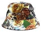 Wholesale Fashion Floral Bucket Hats - Brown Roses