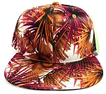 Wholesale Blank Floral Snapback Hats - Spiky Orange 3