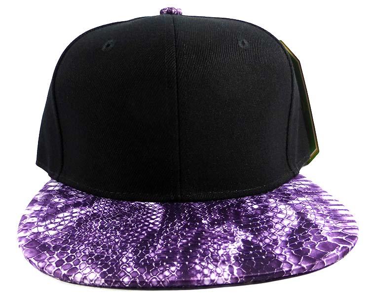 81d15bd285d Home   ALL HATS   Wholesale Blank Snakeskin Snapback Hats - Snake Black  Purple 2
