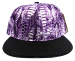 Wholesale Blank Snakeskin Snapback Hats - Snake Purple Black 1