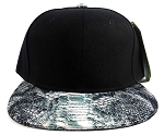 Wholesale Blank Snakeskin Snapback Hats - Snake Dark Gray 2