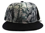Wholesale Blank Snakeskin Snapback Hats - Snake Dark Gray 1