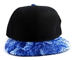 Wholesale Blank Snakeskin Snapback Hats - Snake Black Blue 2
