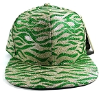 Wholesale Blank Tigerstripe Snapback Hats - Green