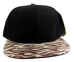 Wholesale Blank Tigerstripe Snapback Caps - Black | Brown