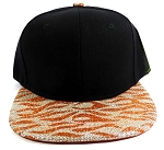Wholesale Blank Tigerstripe Snapback Caps - Black | Orange