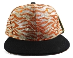 Wholesale Blank Tigerstripe Snapback Caps - Orange | Black
