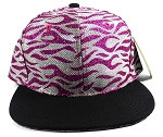 Wholesale Blank Tigerstripe Snapback Caps - Hot Pink | Black