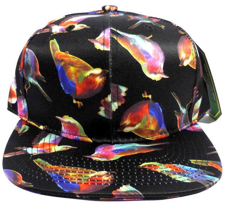 Wholesale Blank Snapback Hats Birds Charcoal Black 1