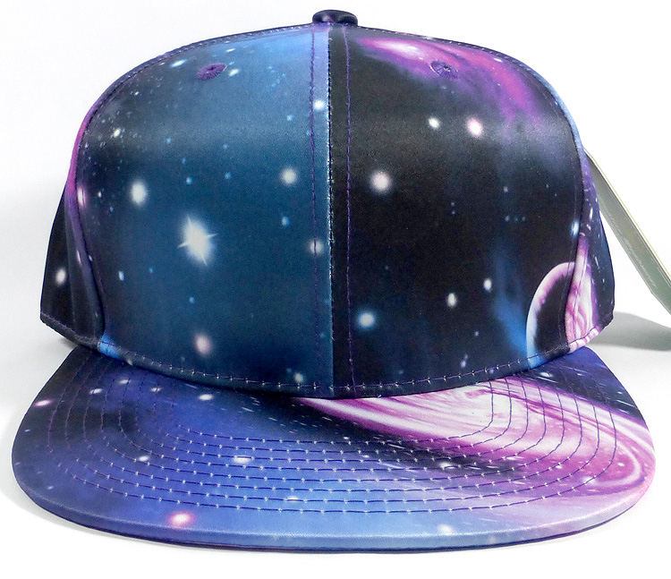 Wholesale Blank Snapback Hats Galaxy Print Blue Space