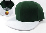 Blank Snapback Hats Caps Wholesale - Dark Green | White