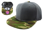 Blank Snapback Hats Caps Wholesale - Dark Grey | Camo