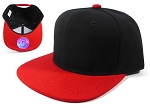 KIDS Junior Blank Snapbacks Hat Wholesale - Black | Red