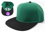 Blank Snapback Hats Caps Wholesale - Kelly Green | Black