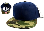 Wholesale Blank Snapback Hats Caps - Navy | Camo