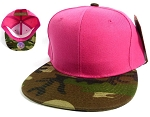 Wholesale Women's Blank Snapback Hats Caps - Hot Pink | Camouflage